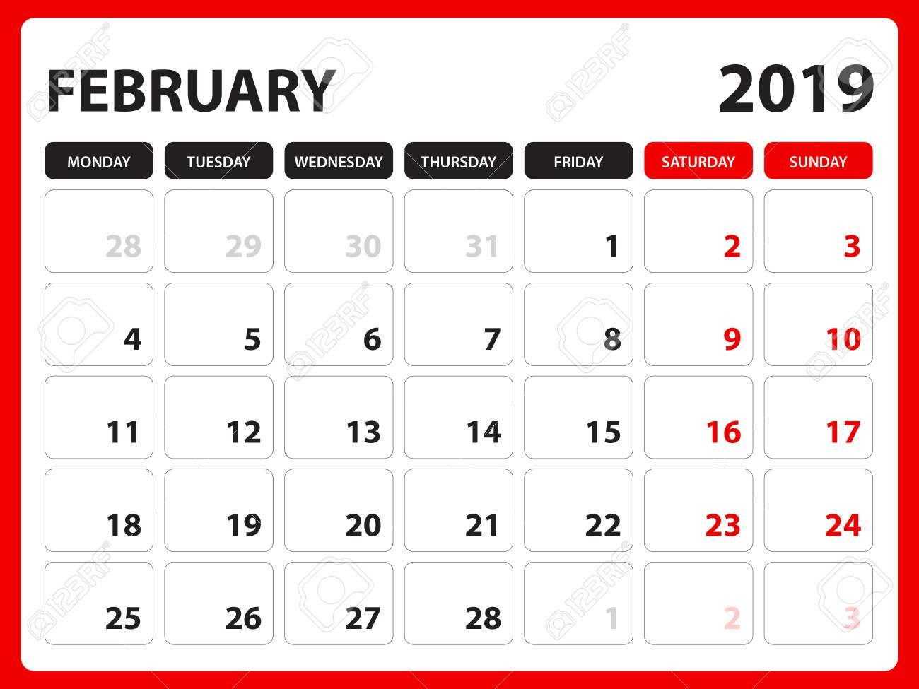 Calendar February 2019 Design Desk Calendar For FEBRUARY 2019 Template, Printable Calendar
