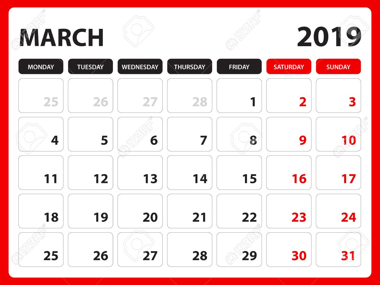 photograph about Printable March Calendar titled Table calendar for MARCH 2019 template, Printable calendar, Planner..