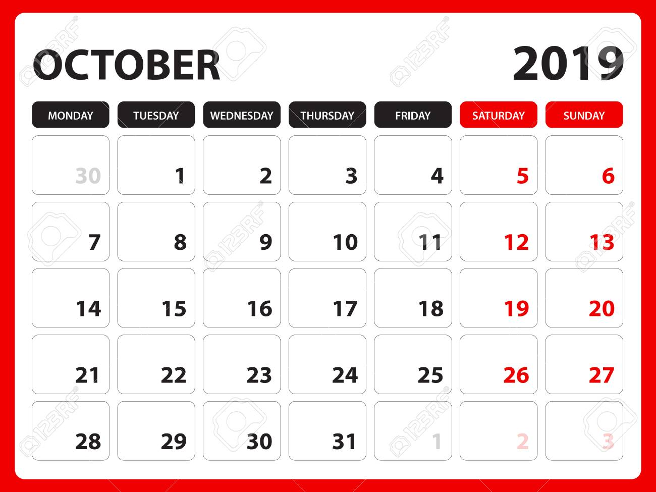 photo regarding Printable Calendar for October called Table calendar for Oct 2019 template, Printable calendar,..