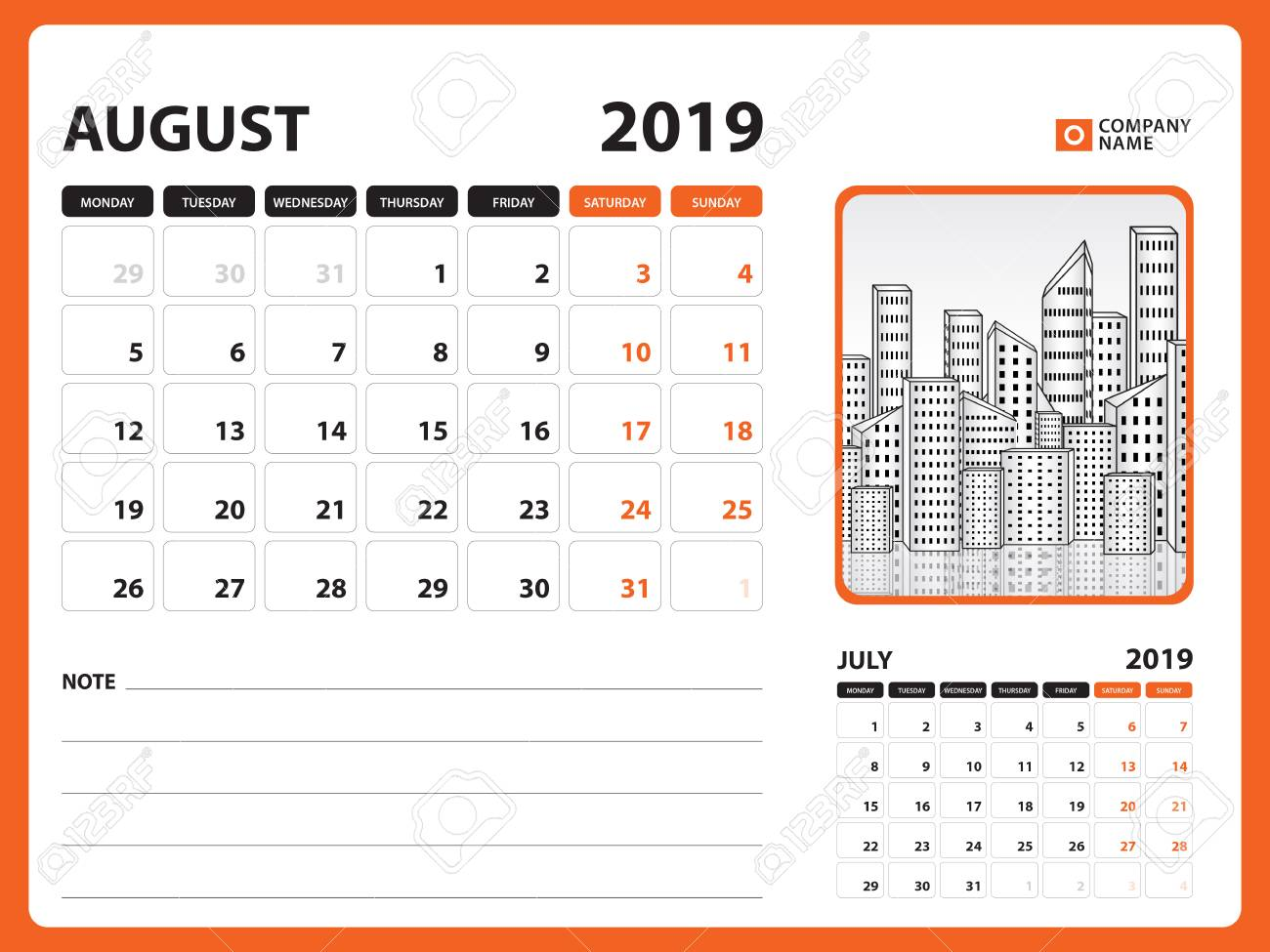 Desk Calendar For August 2019 Template Printable Calendar Planner