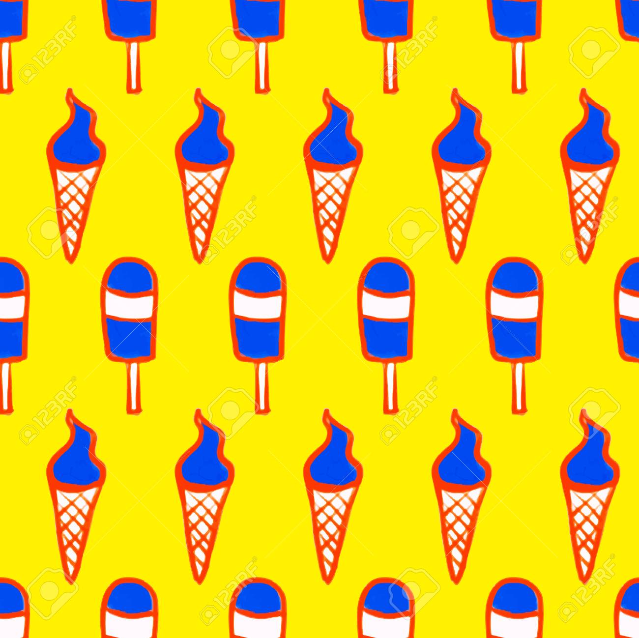 Ice Cream Seamless Pattern Vector Illustration For For Fabric ...