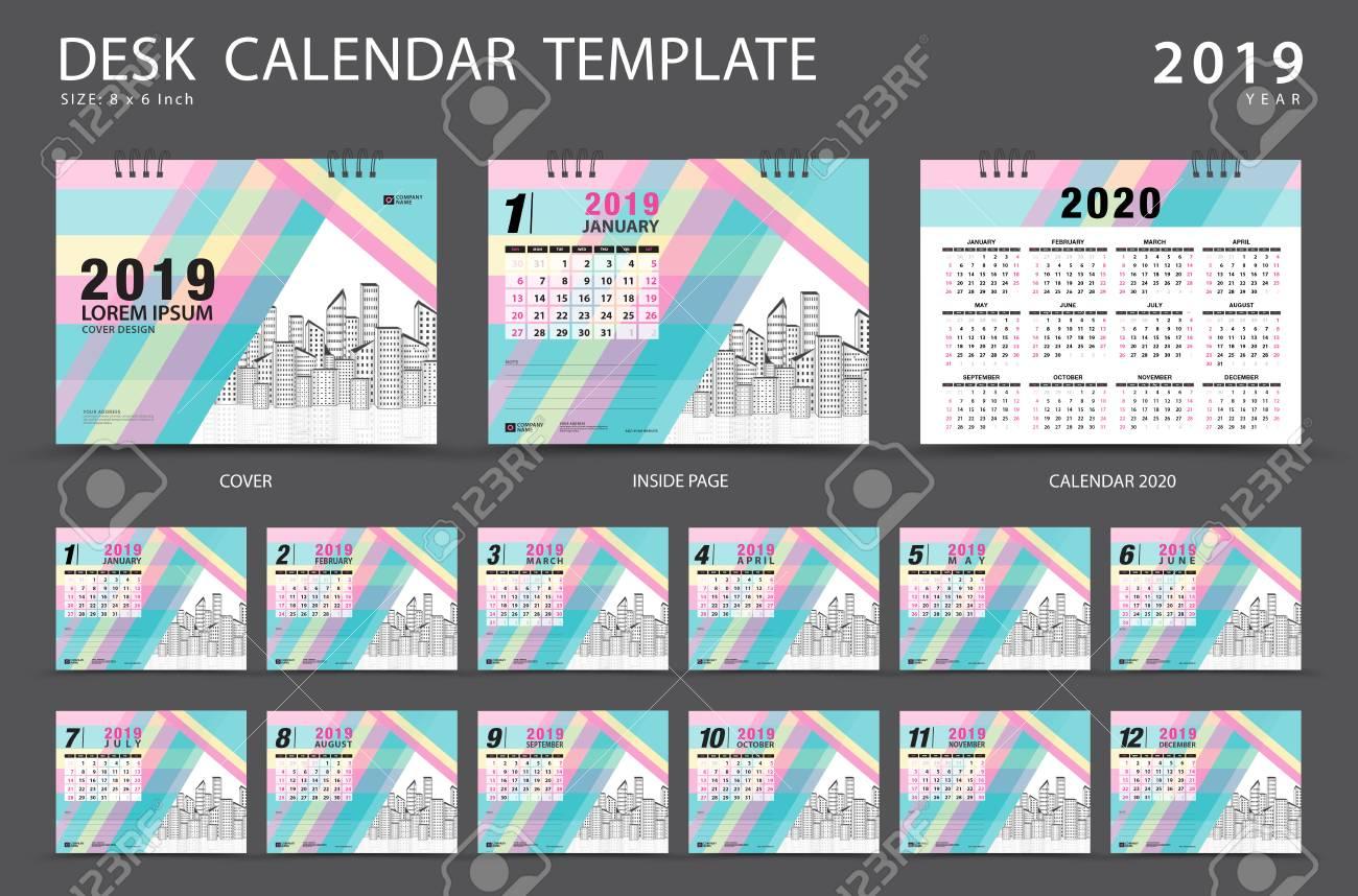 desk calendar 2019 template set of 12 months planner week