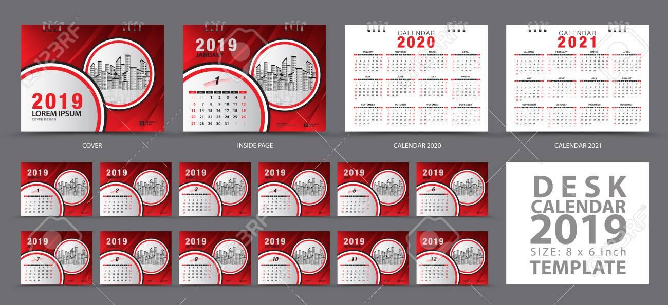 Desk Calendar 2020.Set Desk Calendar 2019 Template Set Of 12 Months Calendar 2019