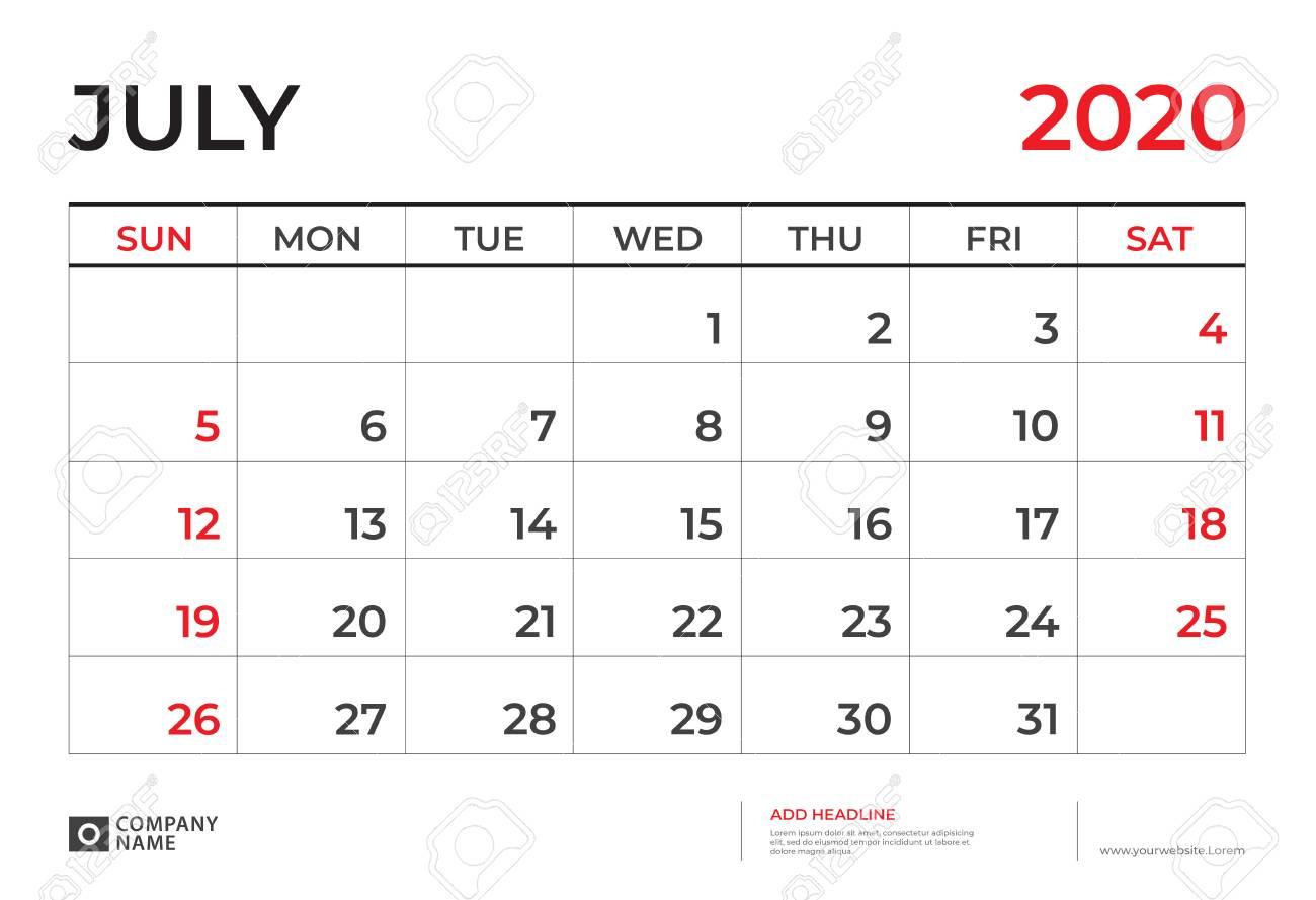 July Calendar 2020.July 2020 Calendar Template Desk Calendar Layout Size 9 5 X