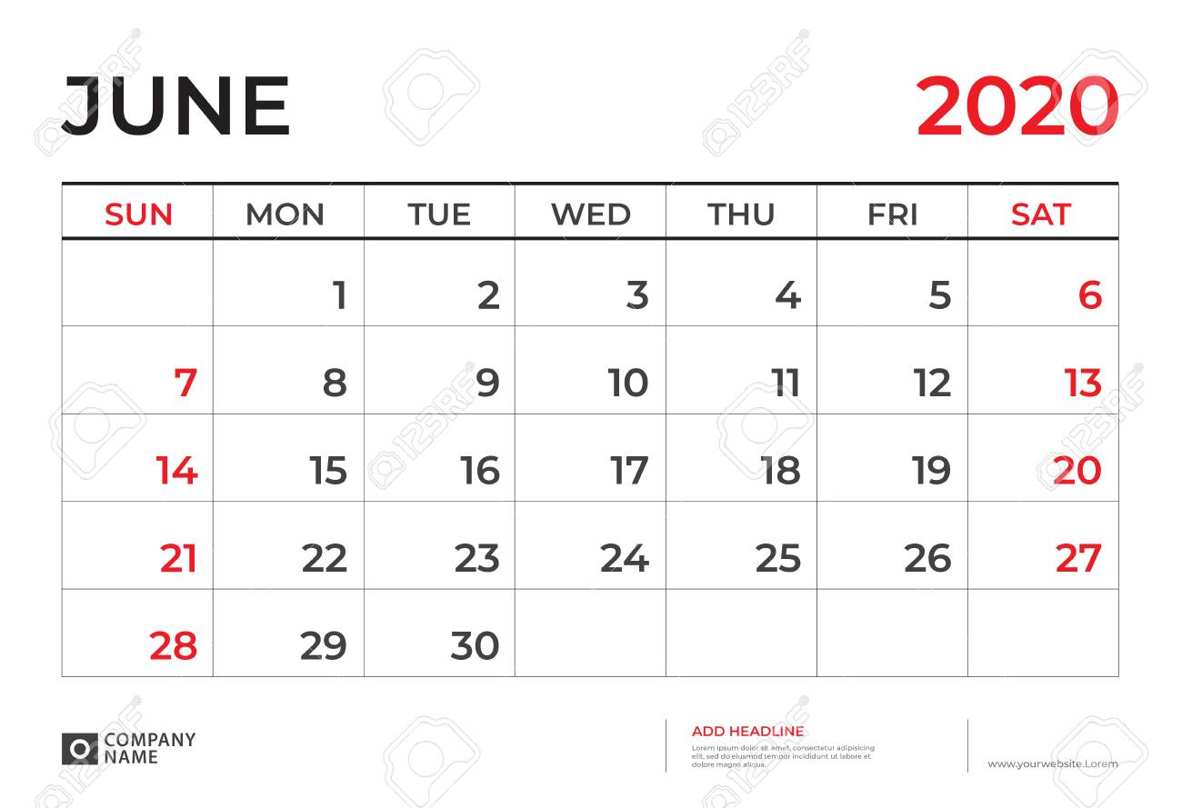 Calendar June 2020.June 2020 Calendar Template Desk Calendar Layout Size 9 5 X