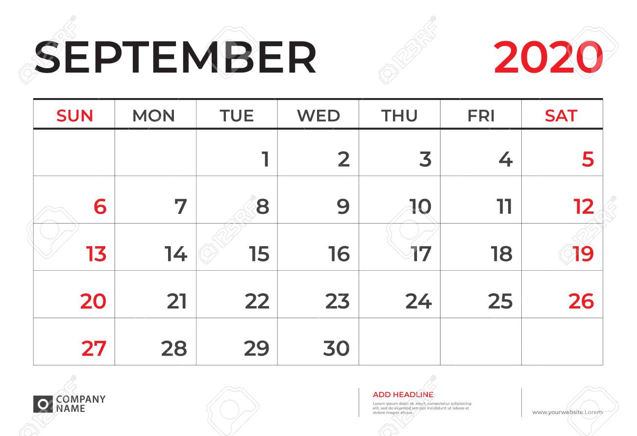 SEPTEMBER 2020 Calendar template, Desk calendar layout Size