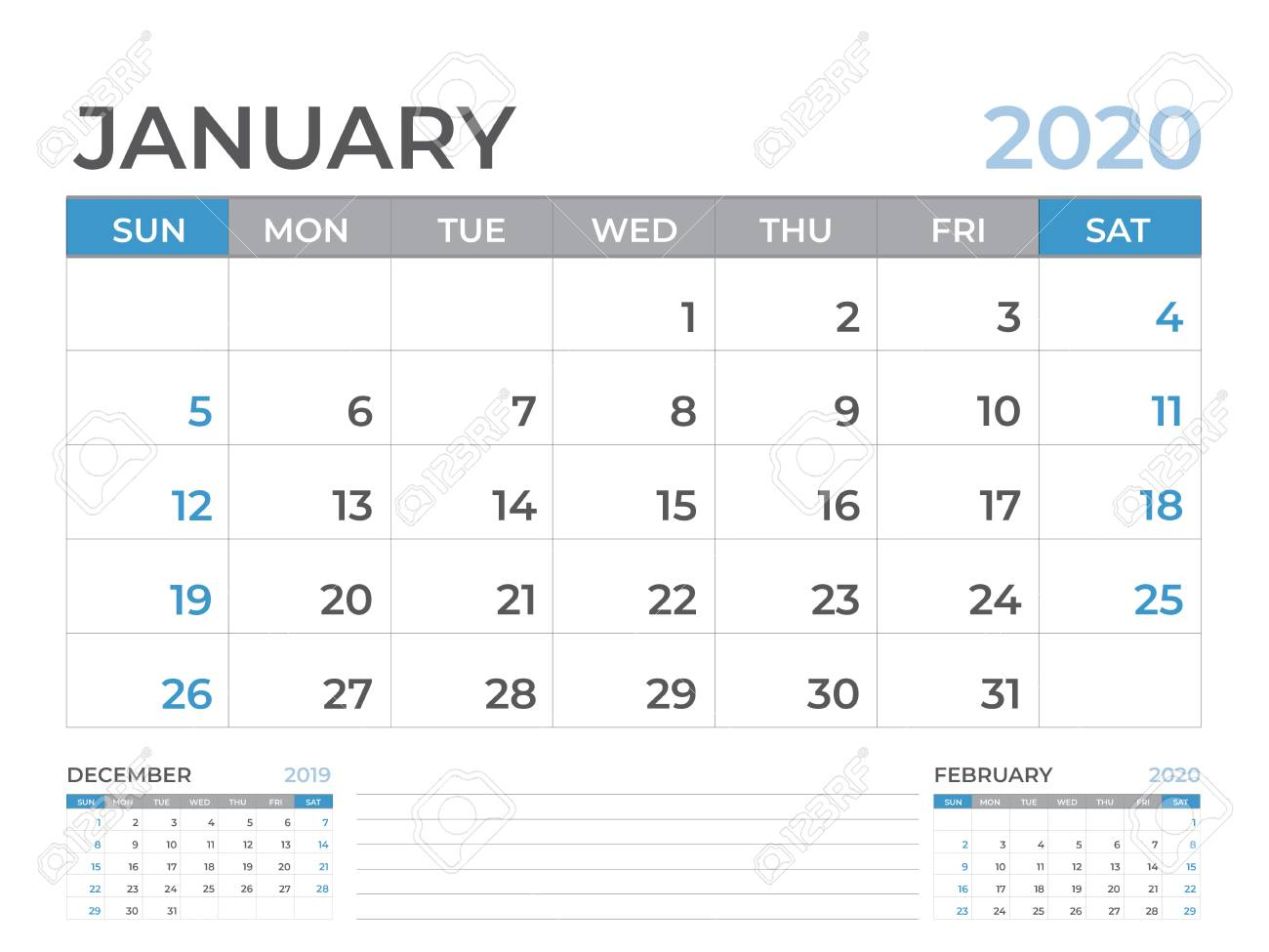 January 2020 Calendar Template.January 2020 Calendar Template Desk Calendar Layout Size 8