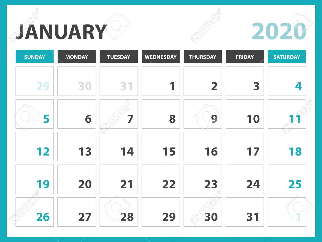 January 2020 Calendar Design Desk Calendar Layout Size 8 X 6 Inch, January 2020 Calendar