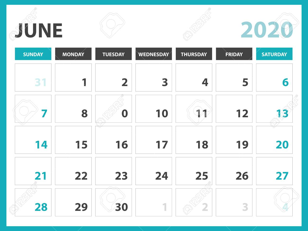 Calendar June 2020.Desk Calendar Layout Size 8 X 6 Inch June 2020 Calendar Template