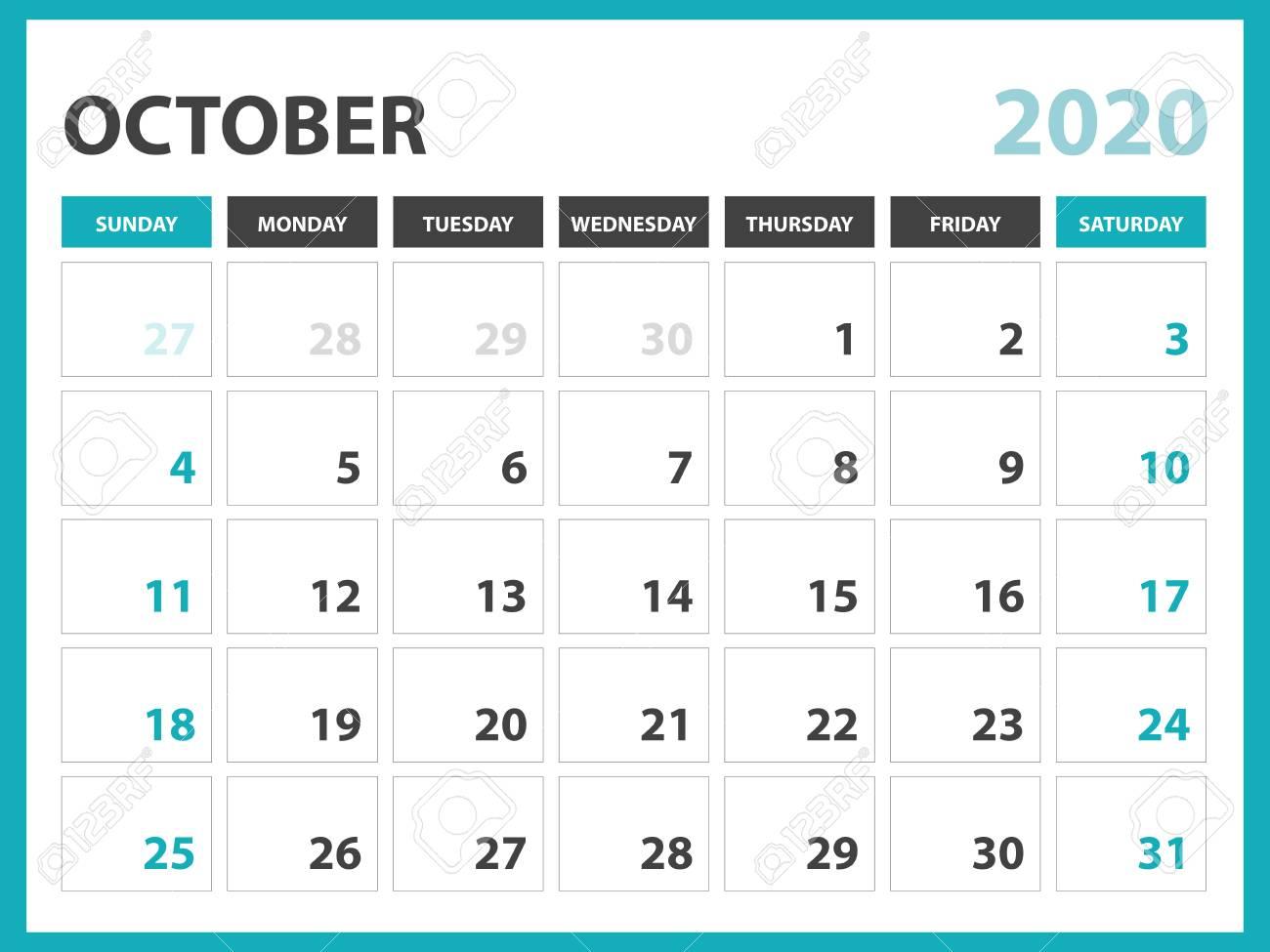 Desk Calendar 2020.Desk Calendar Layout Size 8 X 6 Inch October 2020 Calendar