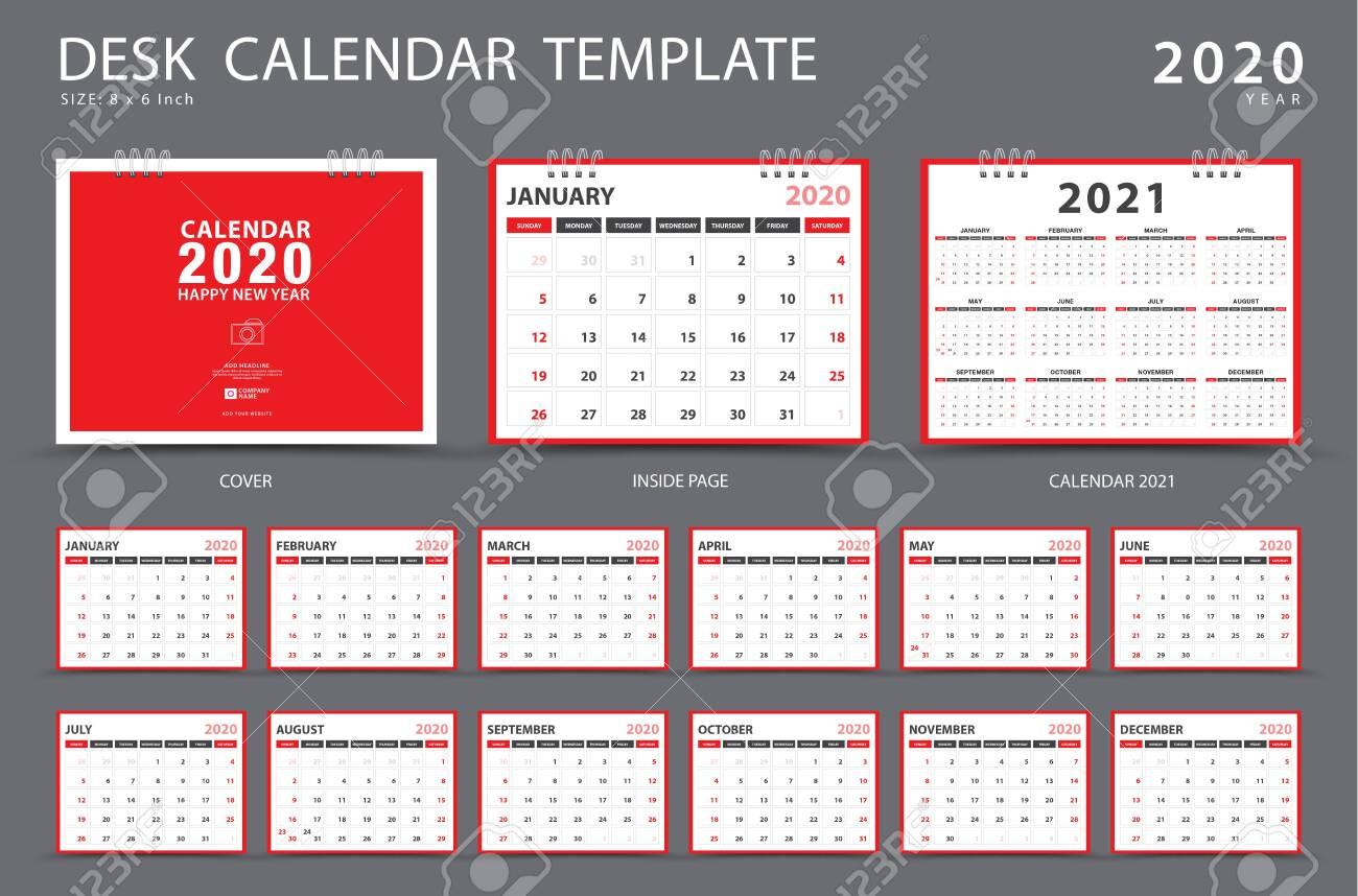 Calendar 2020, Desk calendar template, Set of 12 Months, Planner, Week starts on Sunday, Stationery design, advertisement, Vector layout, red cover design, business brochure flyer - 123497089