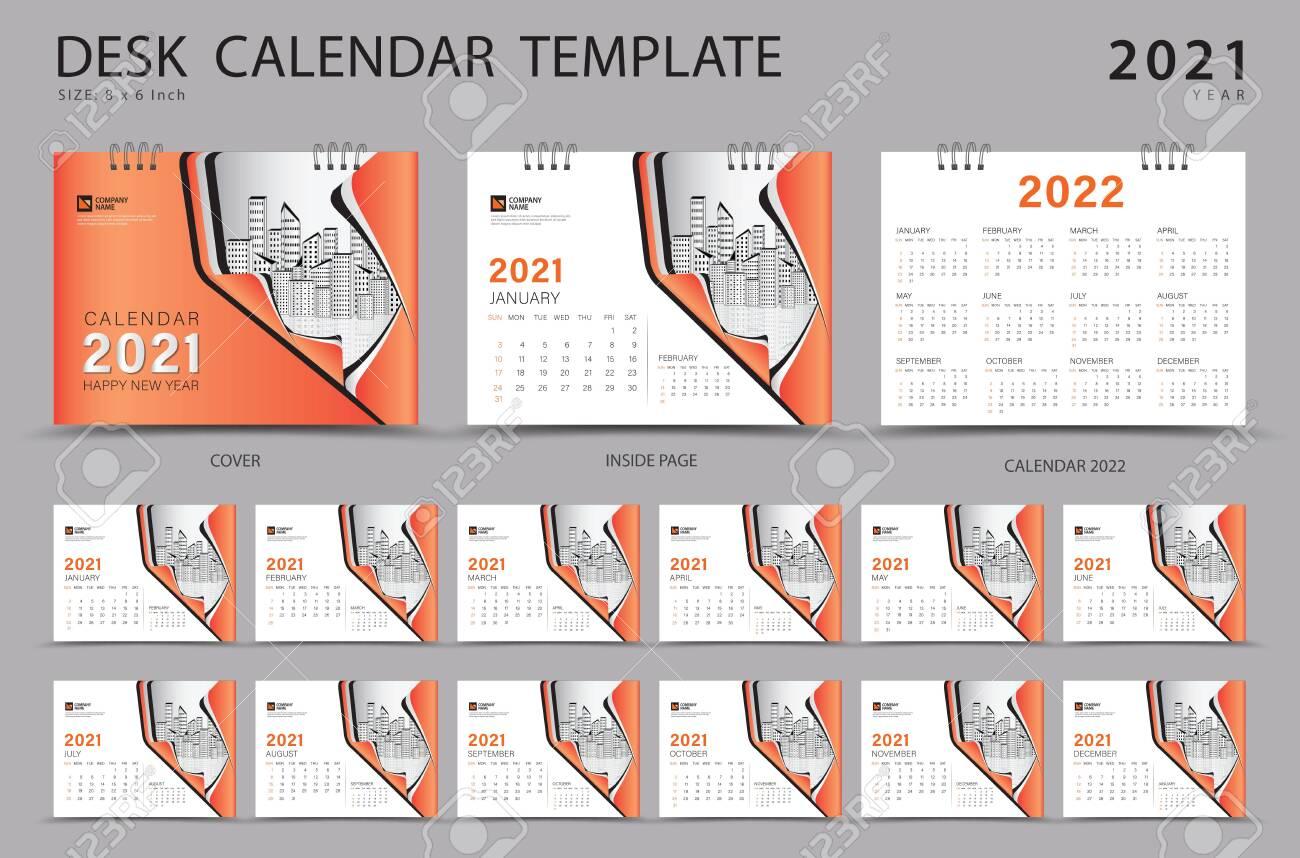 Desk Calendar 2021 Set Template With Calendar 2022 Design Orange Royalty Free Cliparts Vectors And Stock Illustration Image 152464726