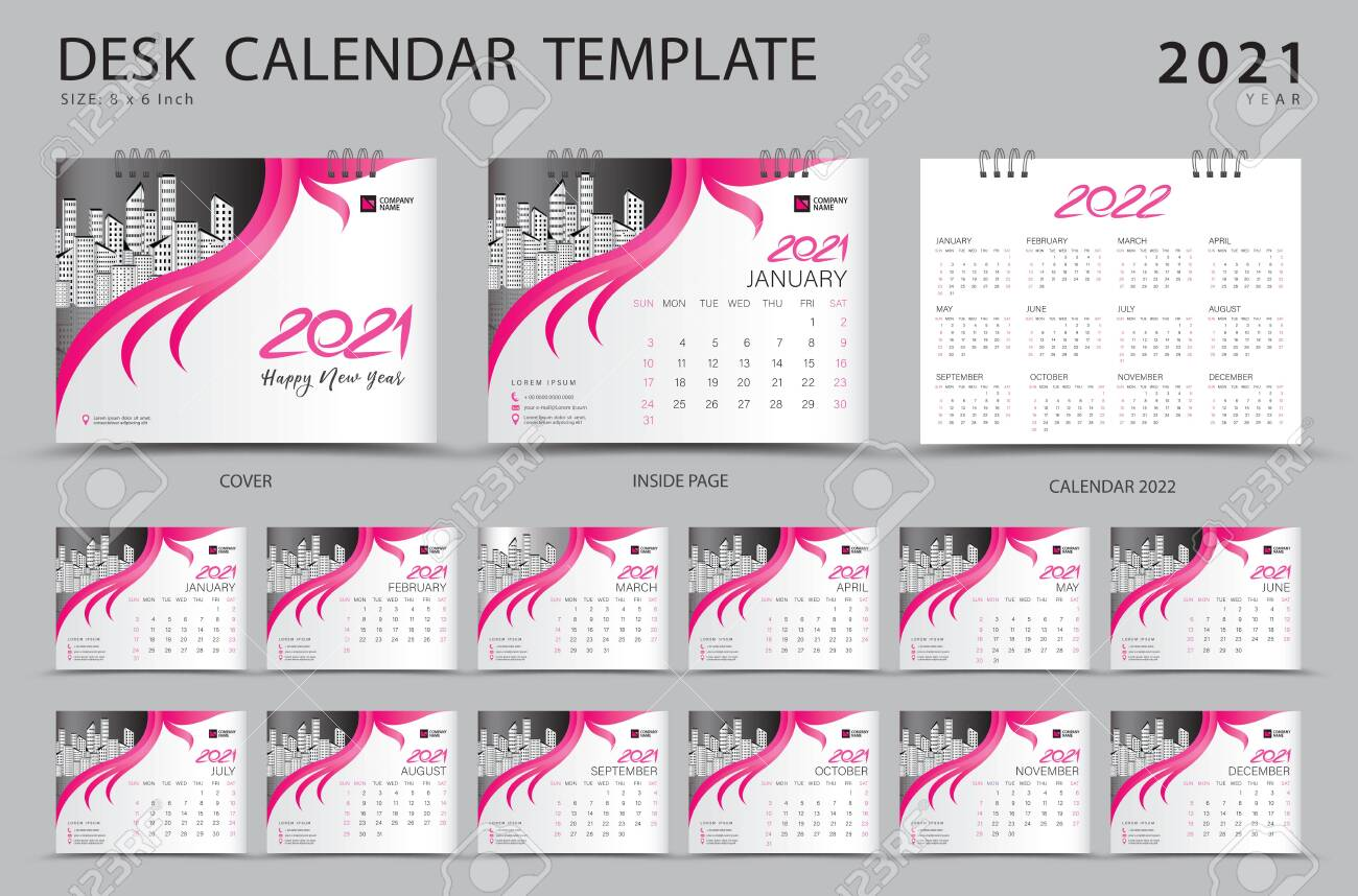 Desk Calendar 2021 Set Template With Calendar 2022 Design Pink Royalty Free Cliparts Vectors And Stock Illustration Image 152464729