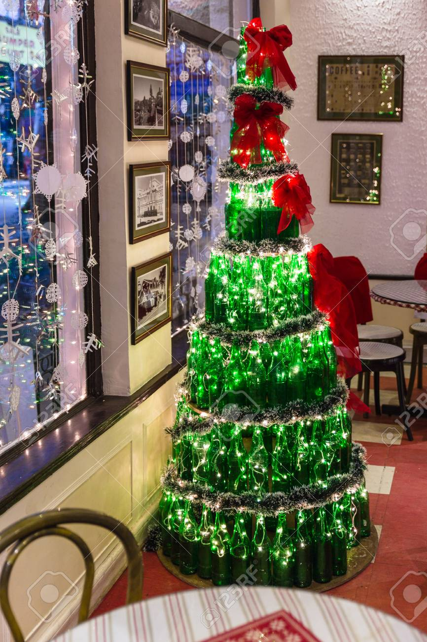Christmas Tree In India.Christmas Tree That Made By Bottles At Cafe In Winter In Darjeeling