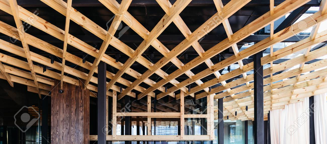 Decorated Wooden Ceiling By Birch Wood Modern Interior Design Stock Photo Picture And Royalty Free Image Image 115246670