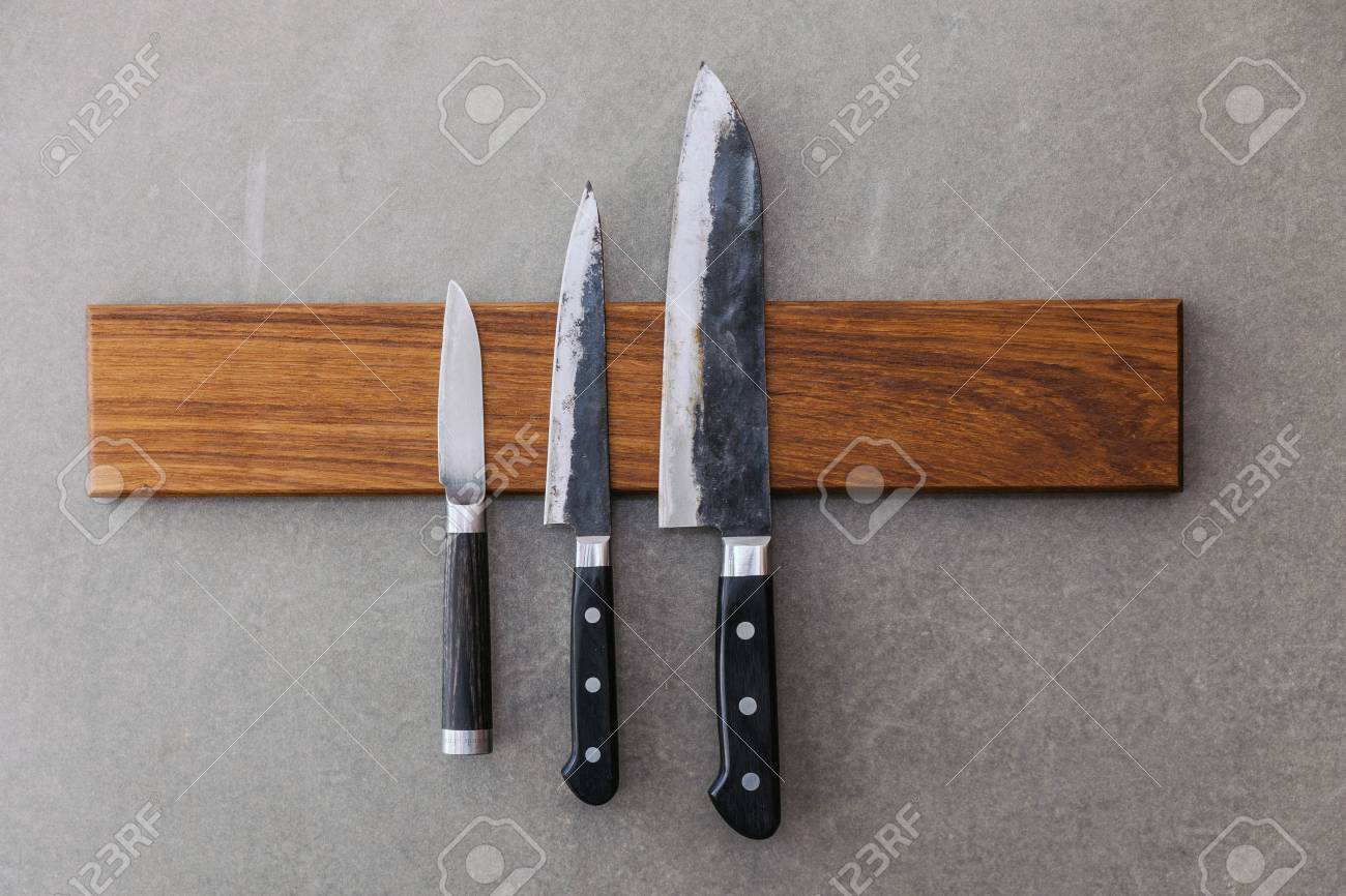 Dull Japanese Kitchen Knives Stick On Magnet Cover With Wood