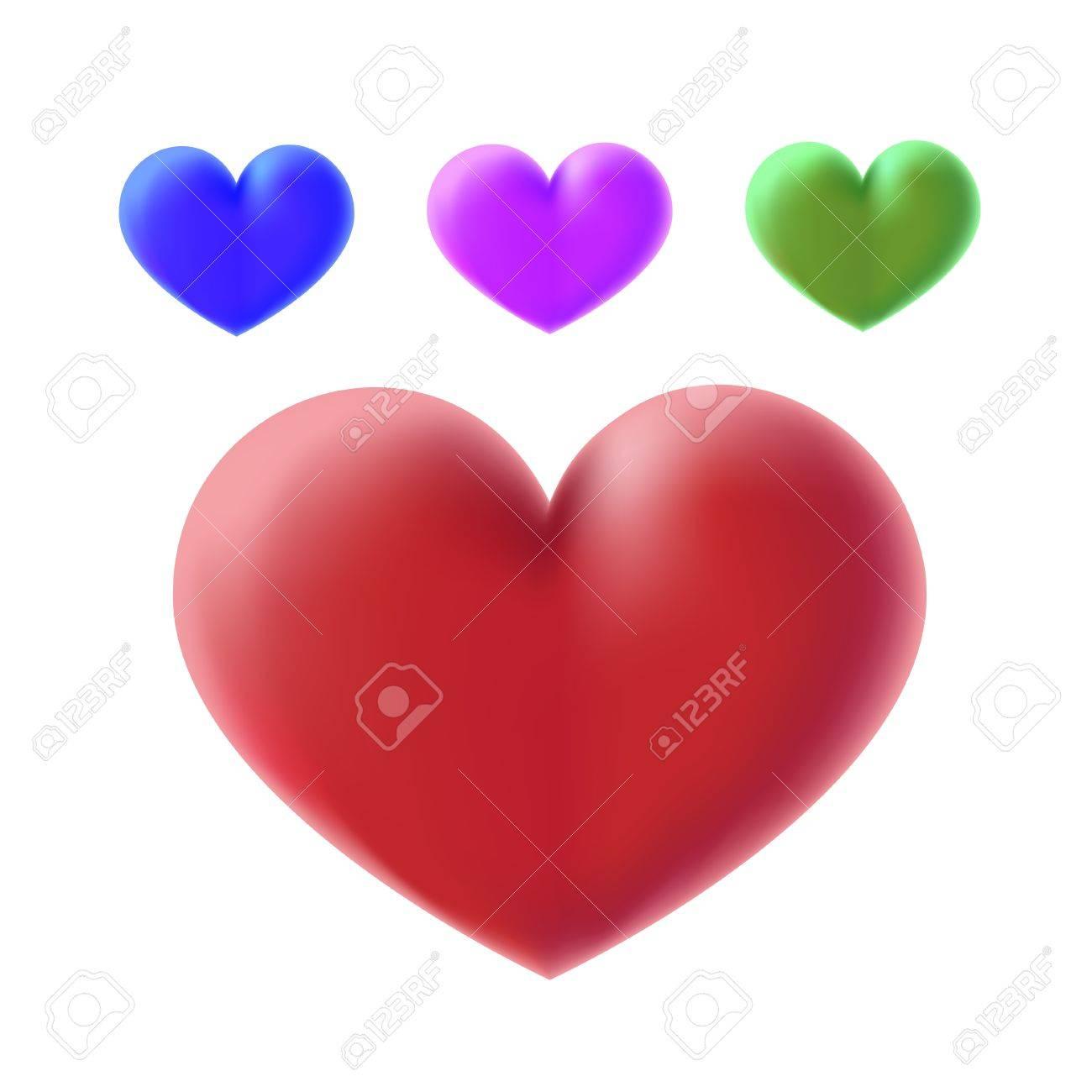colour 3d hearts Stock Vector - 10400138