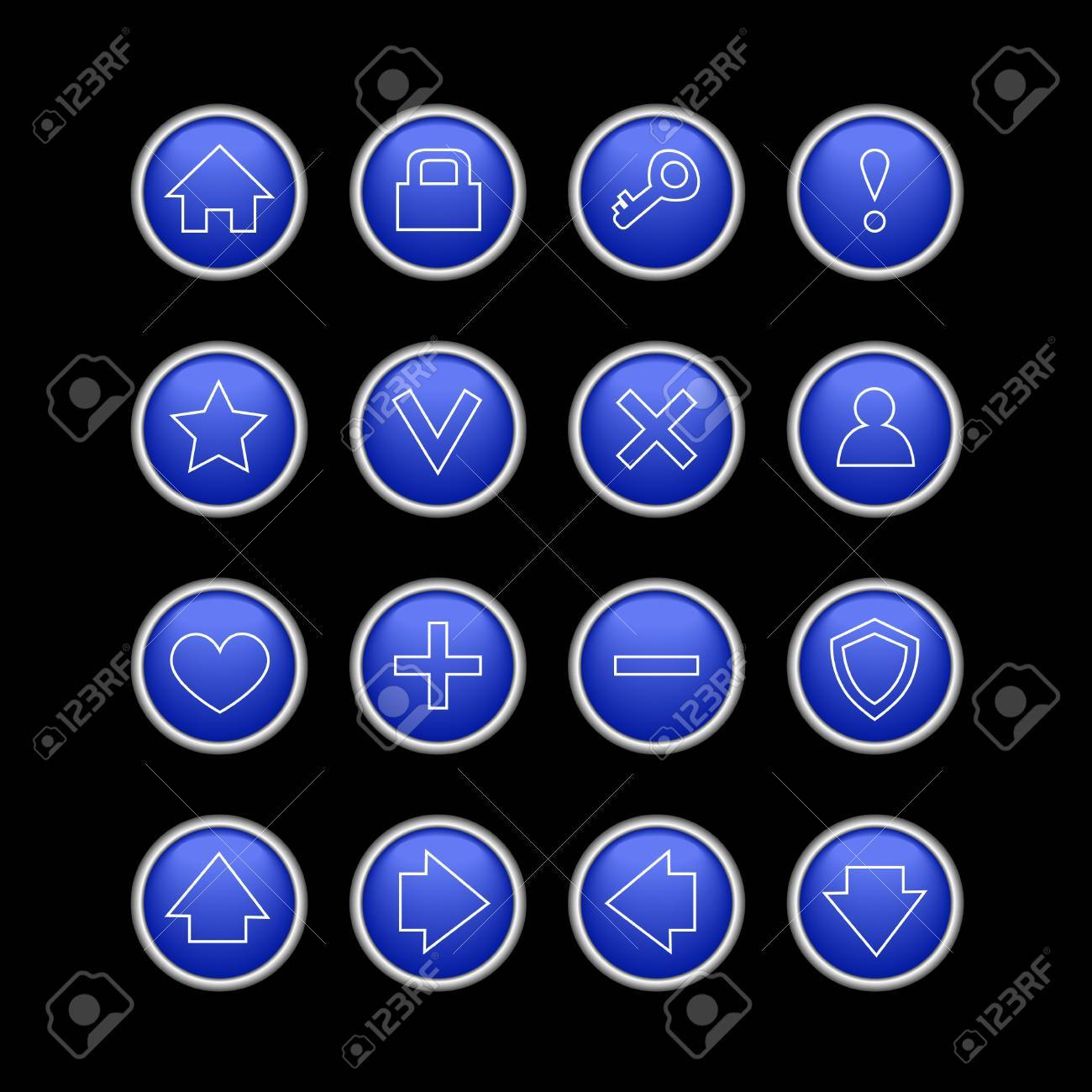 dark blue web icons isolated on black Stock Vector - 10400135