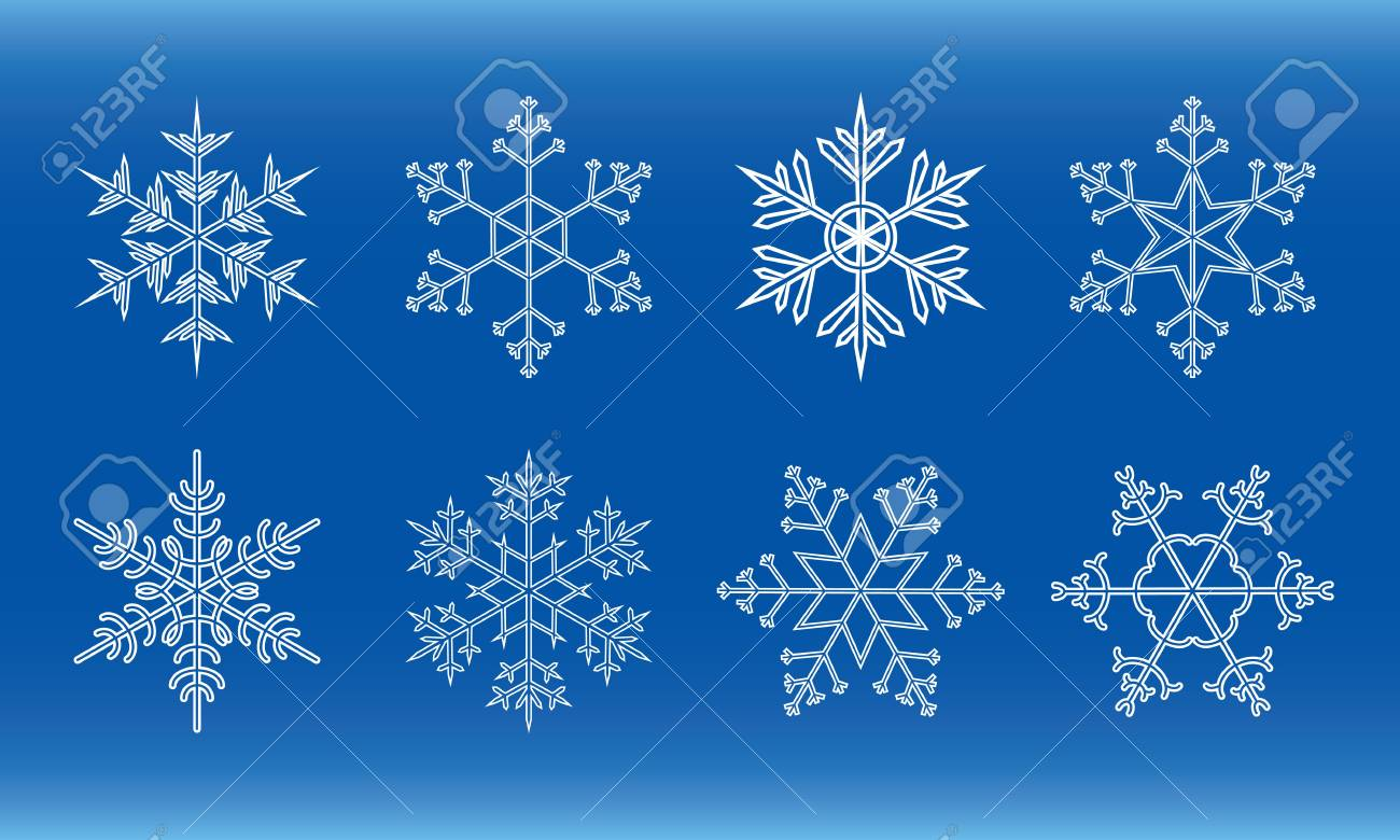 different white snowflakes on a blue background Stock Vector - 10429244