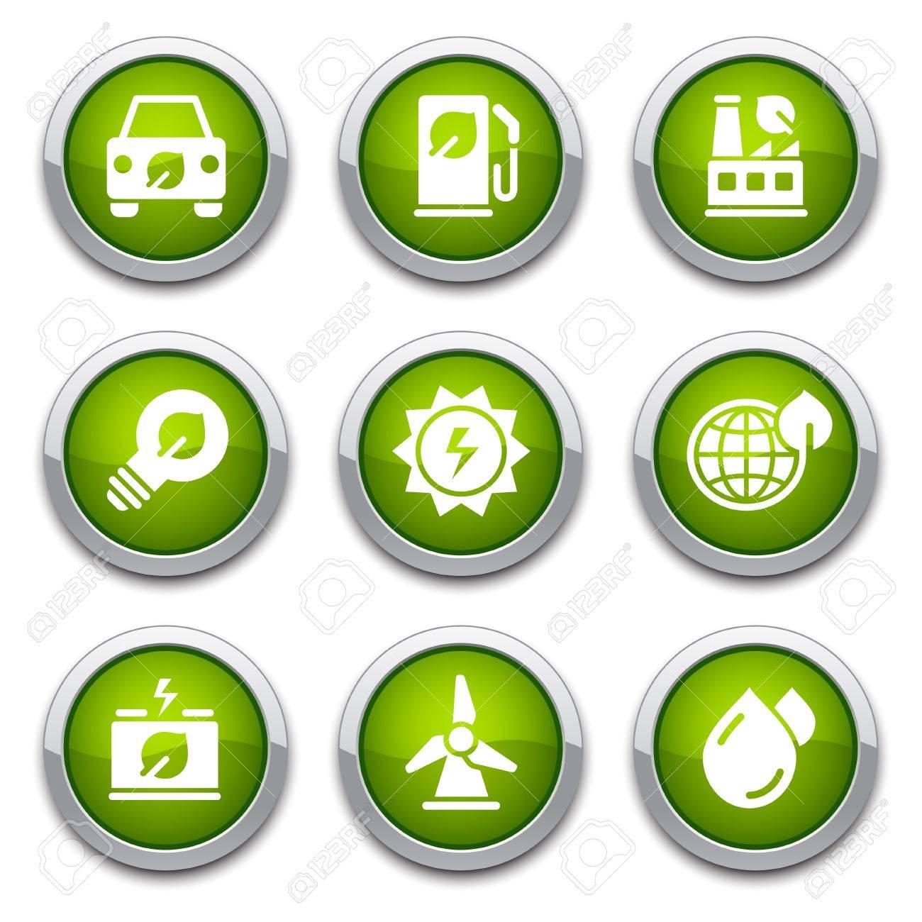 Green ecology buttons Stock Vector - 13202081