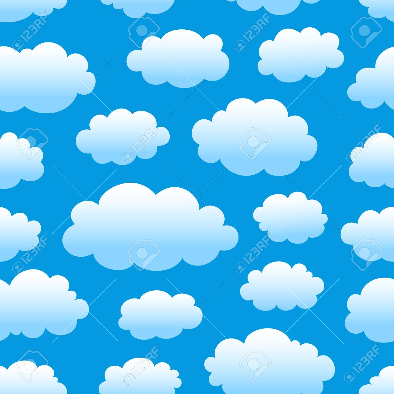 blue cloudy sky seamless pattern Stock Vector - 13360779