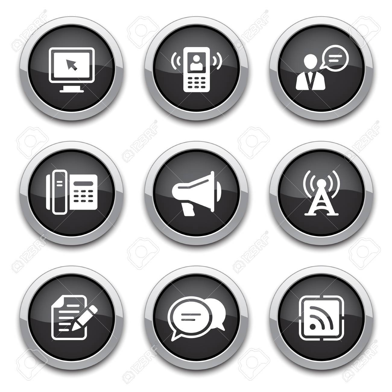 black communication buttons Stock Vector - 13763691