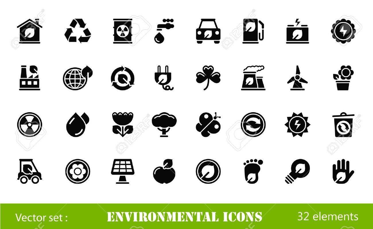 black environmental icons Stock Vector - 14854447