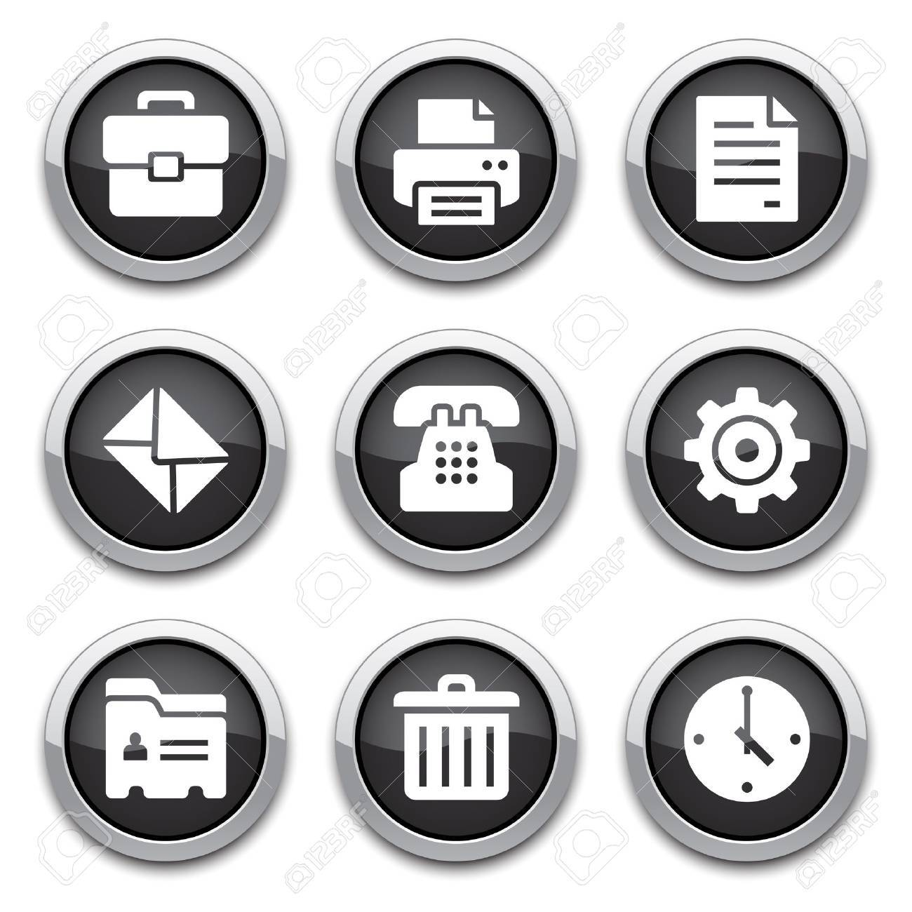 black office buttons Stock Vector - 14898158