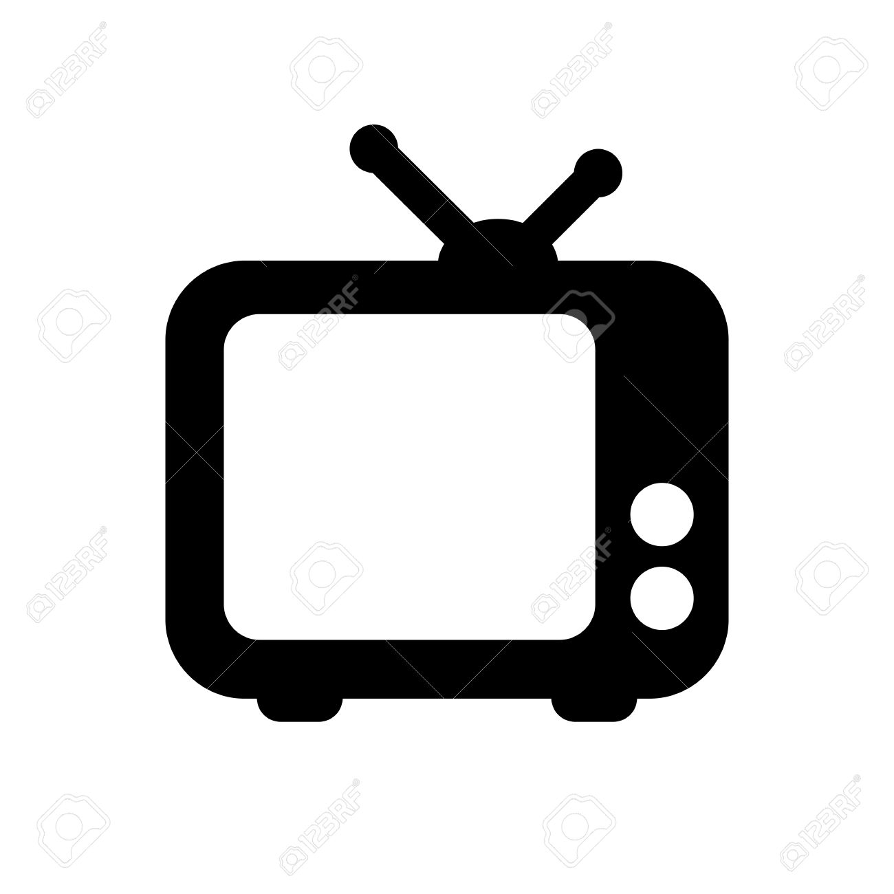 tv clipart black and white. black tv icon isolated on white stock vector - 48619660 clipart and