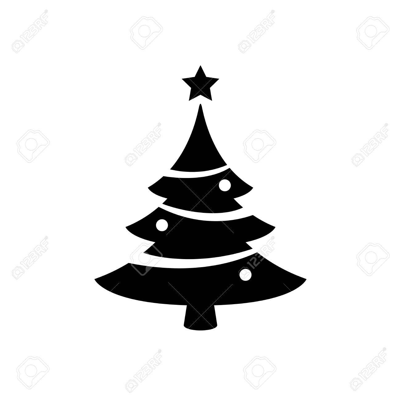 Black Christmas Tree Icon Isolated On White