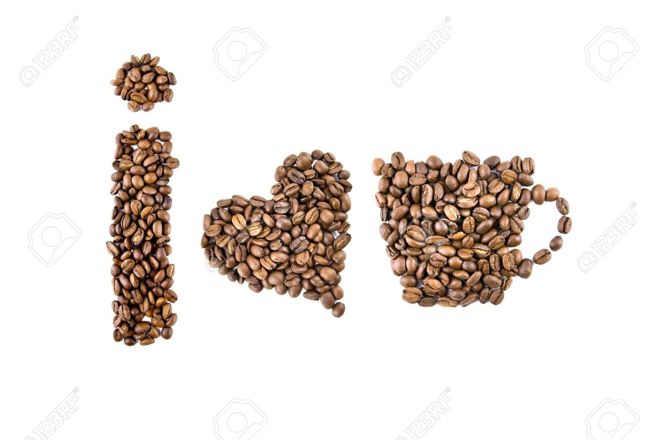 i love coffee symbols from coffee beans isolated on white Stock Photo - 4166741