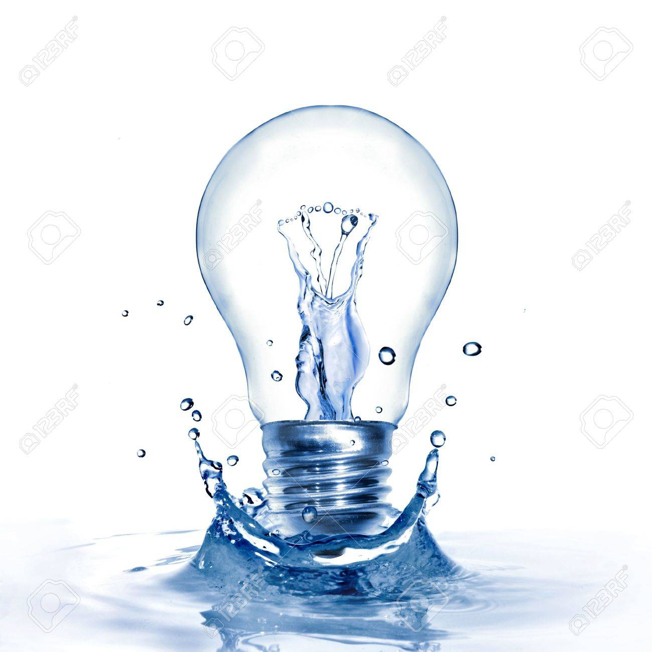 Energy concept. Light bulb with water and splash isolated on white Stock Photo - 5423784