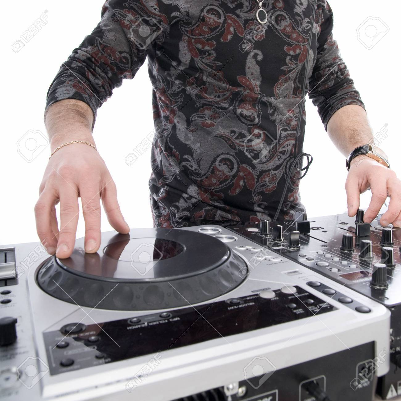 dj playing on dj mixer with isolated on white Stock Photo - 6533544
