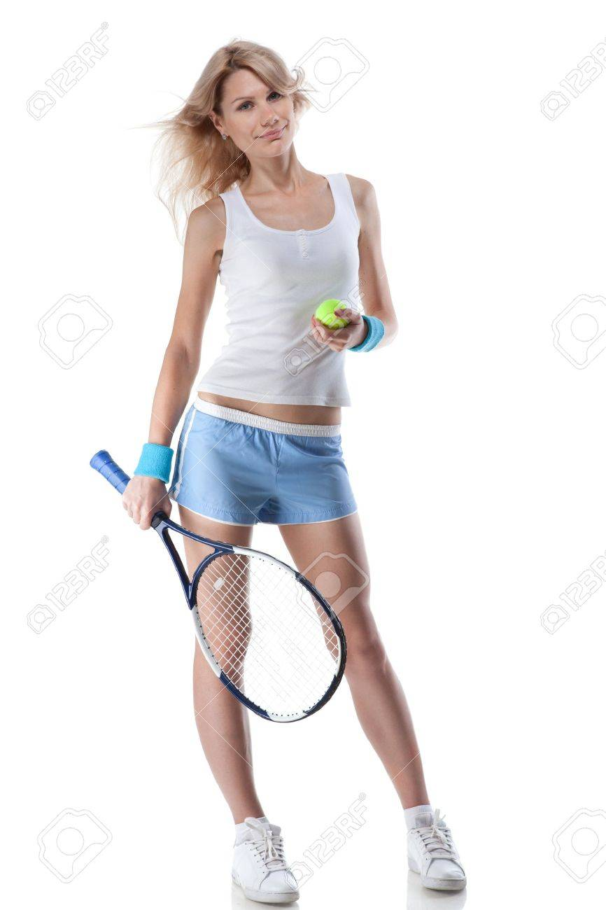 Portrait of young smiling woman with tennis racket isolated on white Stock Photo - 11864987