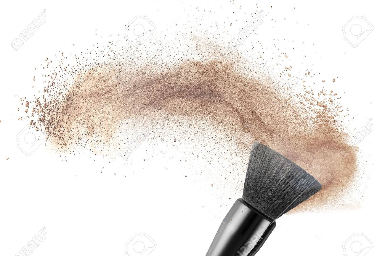 Makeup Brush With Powder Foundation Isolated On White Stock Photo Picture And Royalty Free Image Image 31641946