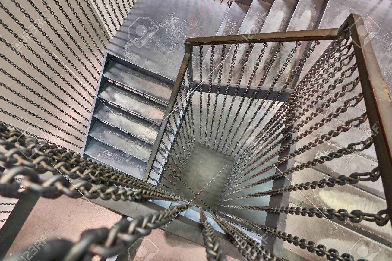 View From Above Metal Spiral Staircase Is Located Building Stock