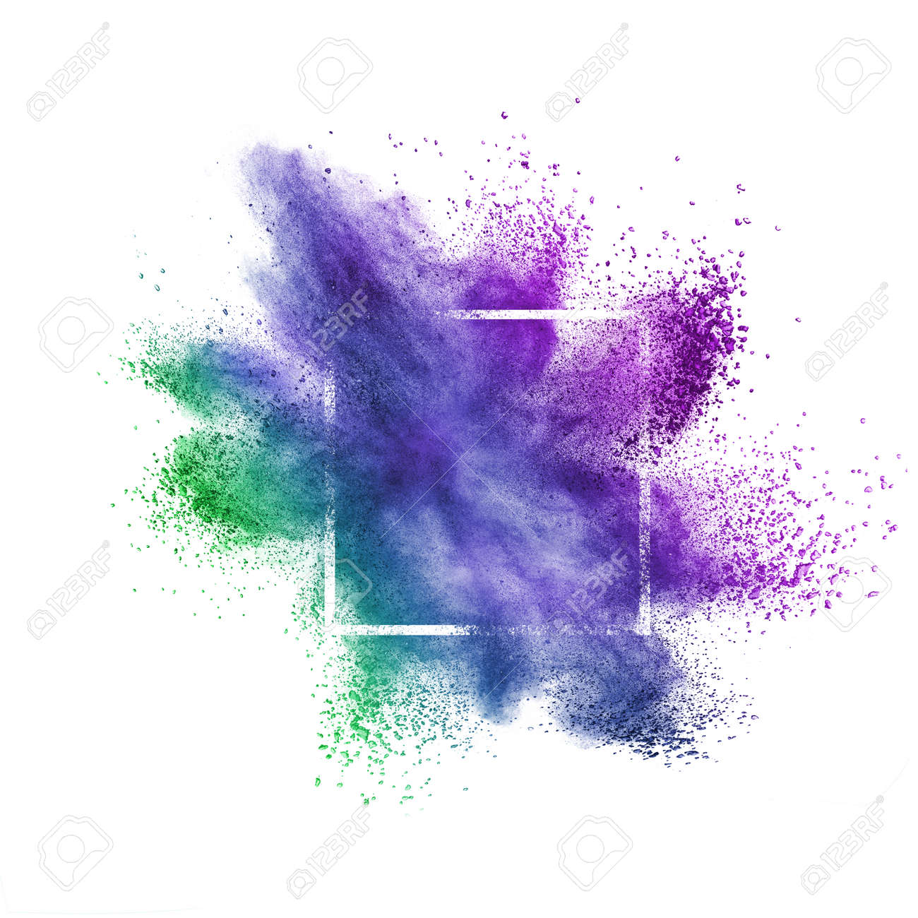 Abstract creative splash from colorful dust or powder in a square frame on a white background with copy space. - 145564280