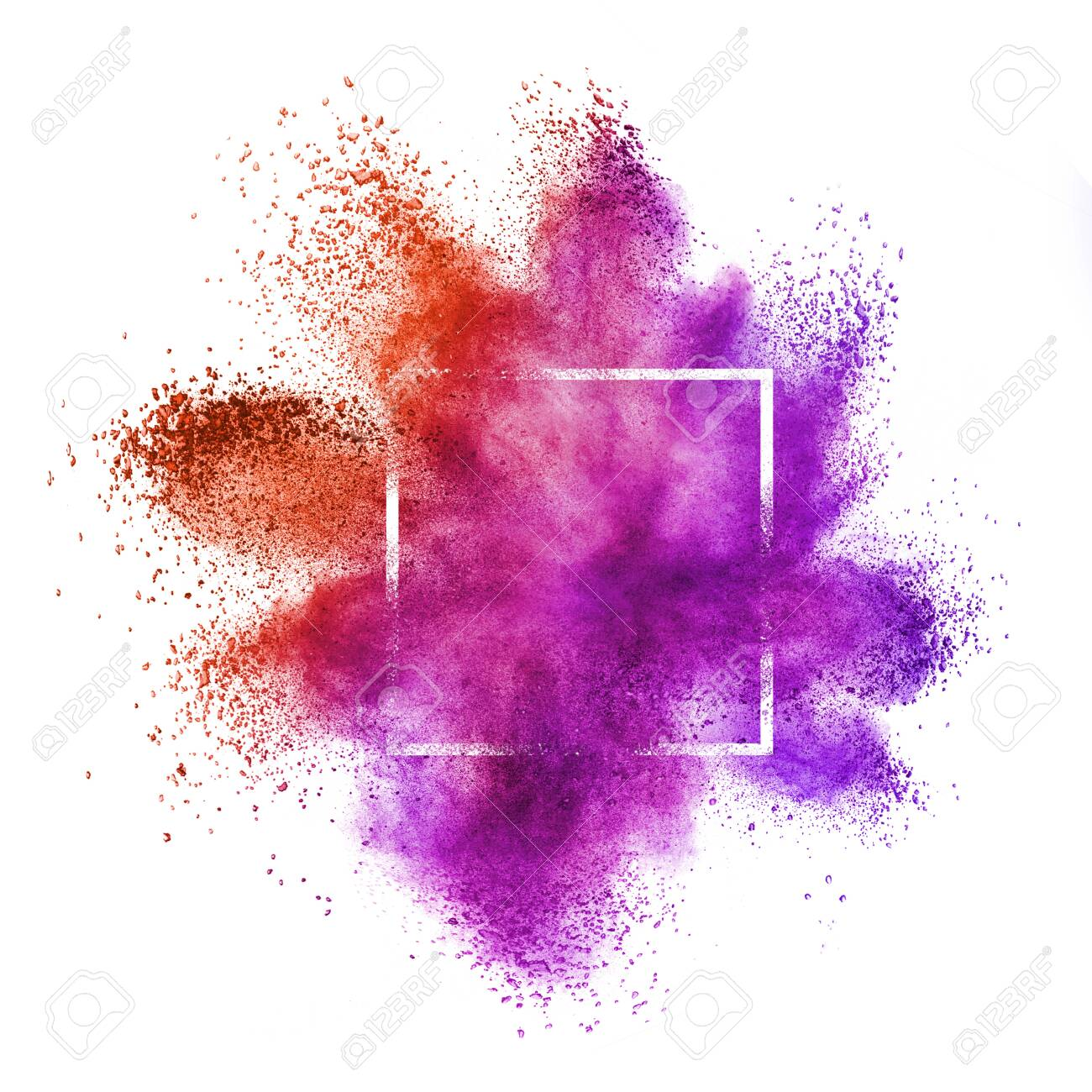 Square frame with abstract dust or powder splash in red and purple colors on a white background, copy space. - 145565014