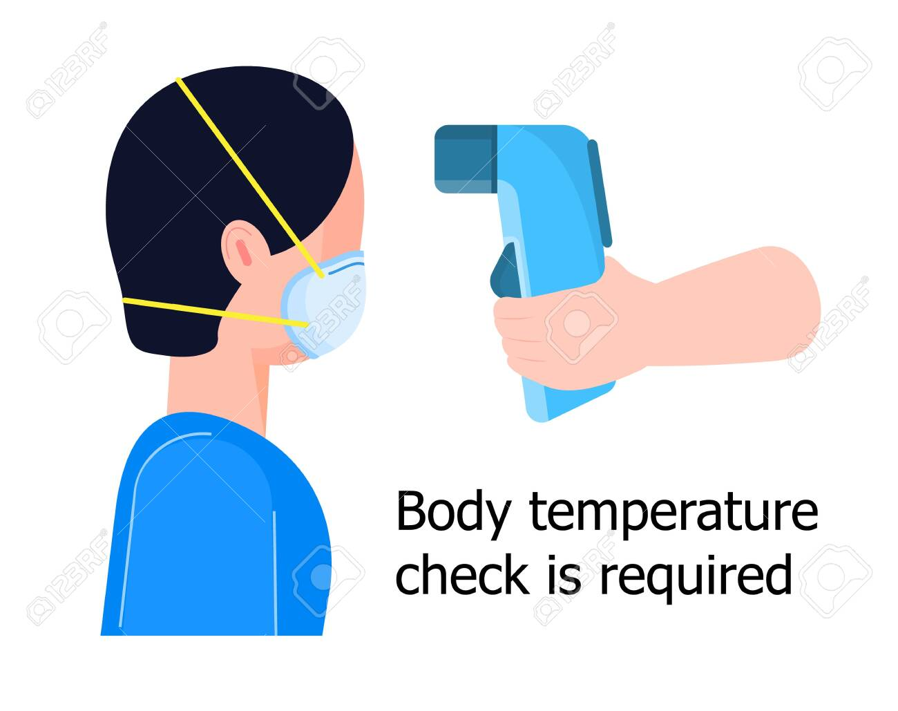 Body temperature check is required. Non-contact thermometer in hand. Human is wearing mask on the face. Coronavirus prevention and control - 146276674