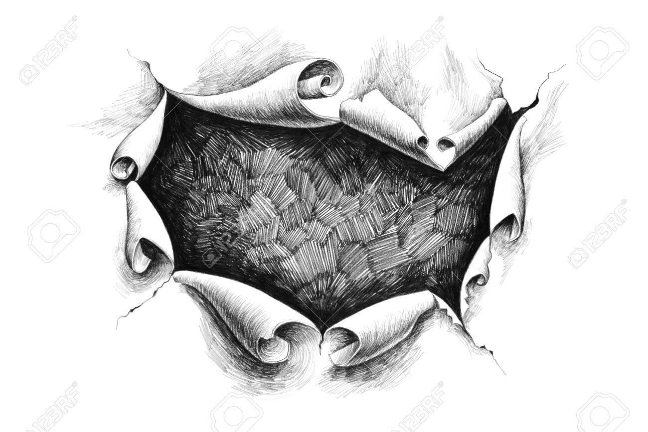 ラフに画期的な紙穴鉛筆デッサン イラスト の写真素材画像素材