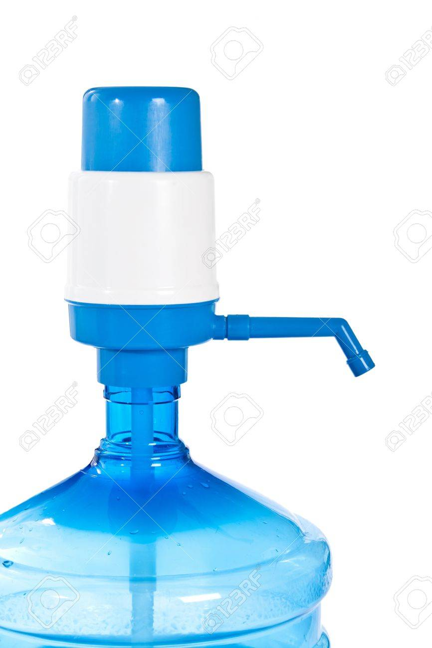 Large bottle of clean drinking water  with  manual pump. Stock Photo - 12365096