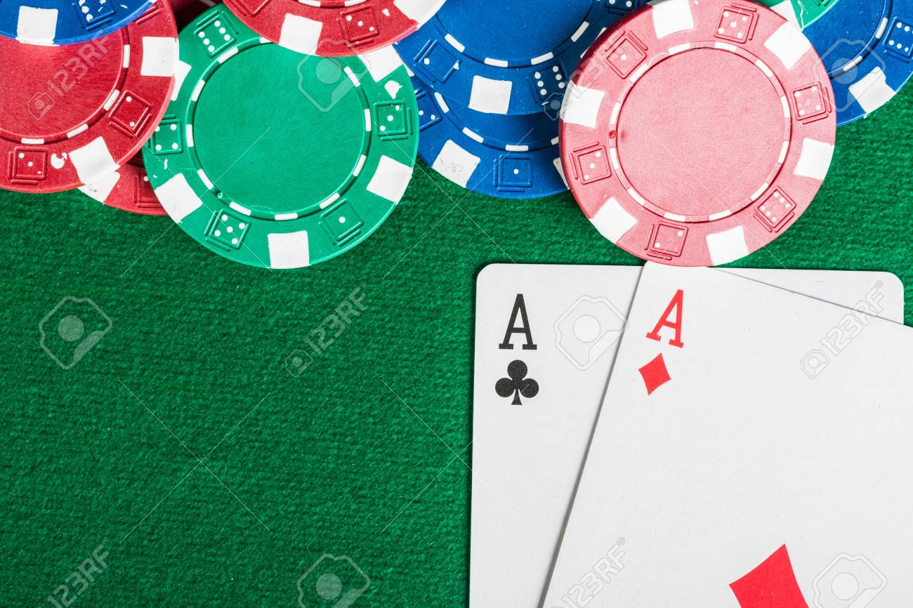 Chip and cards for the poker on the table Stock Photo - 17311698