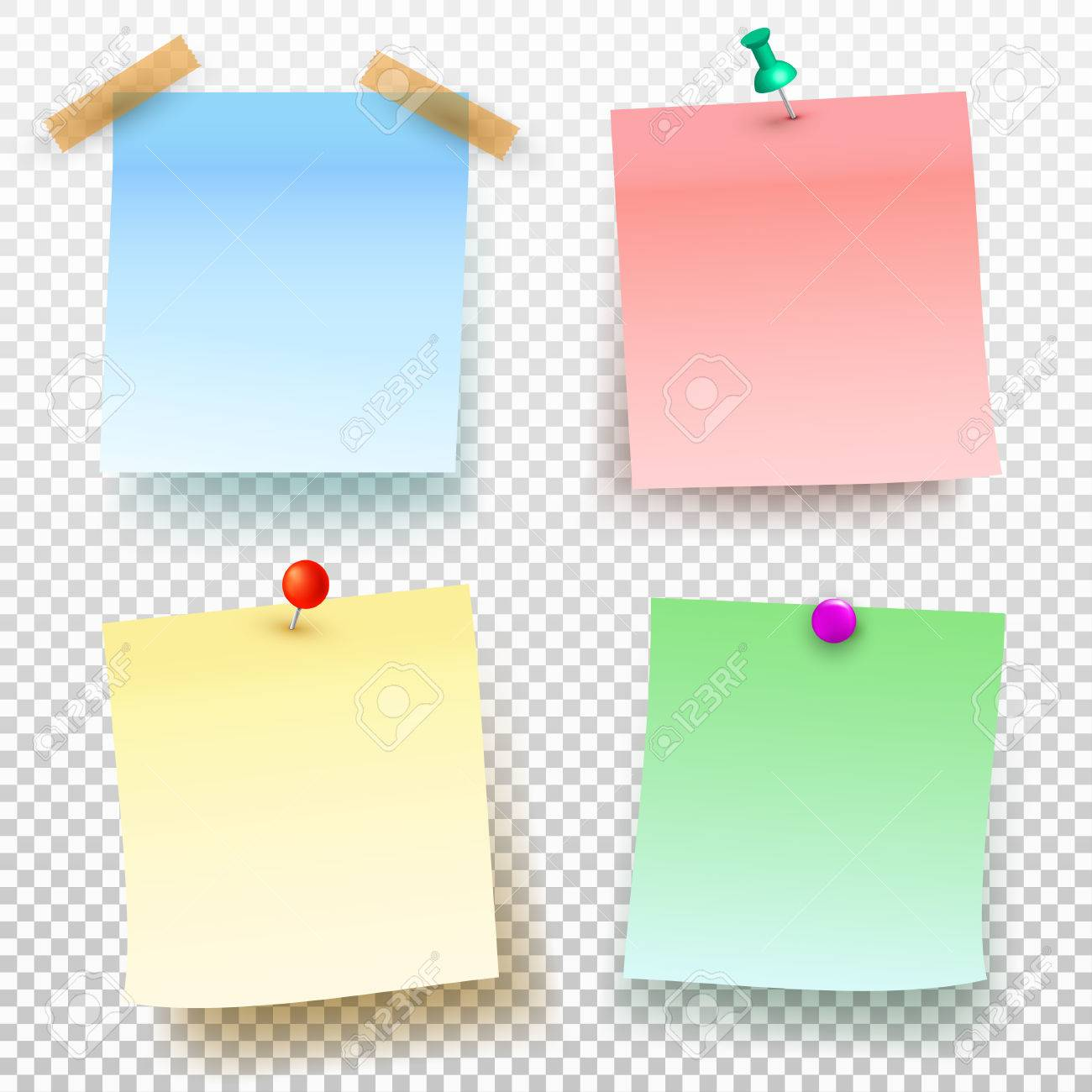 Set Of Colored Sticky Note And Push Pin Isolated On Transparent ...