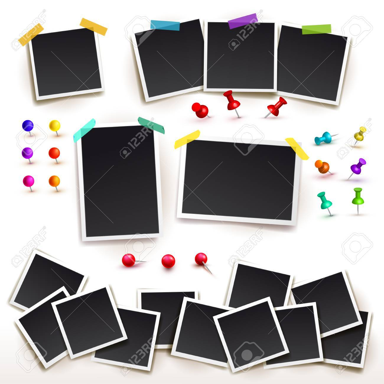 collection of square frame template with shadows and push pins