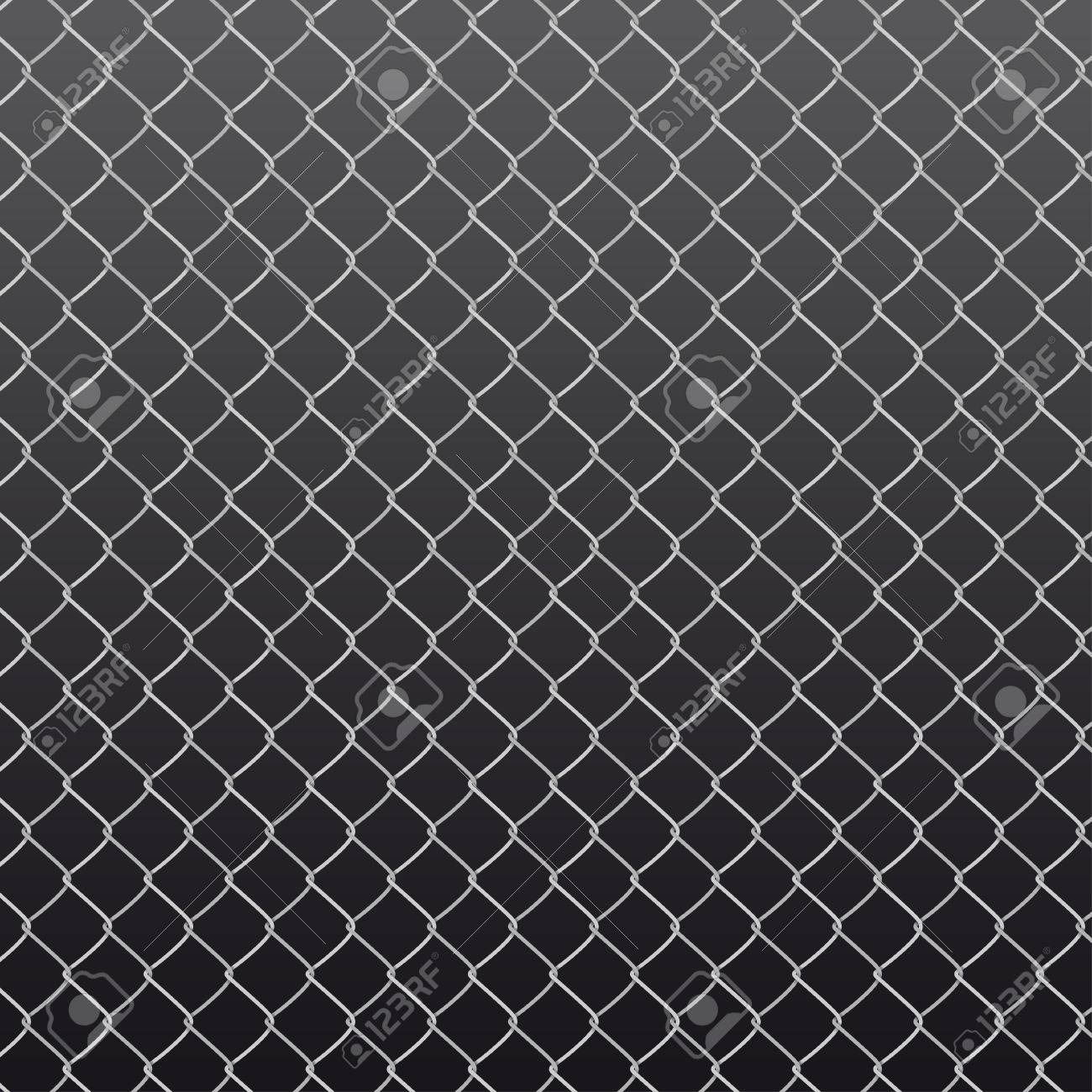 chain link fence texture. Seamless Metal Chain Link Fence On Black Background. Wired Pattern In Shades Of Grey Texture