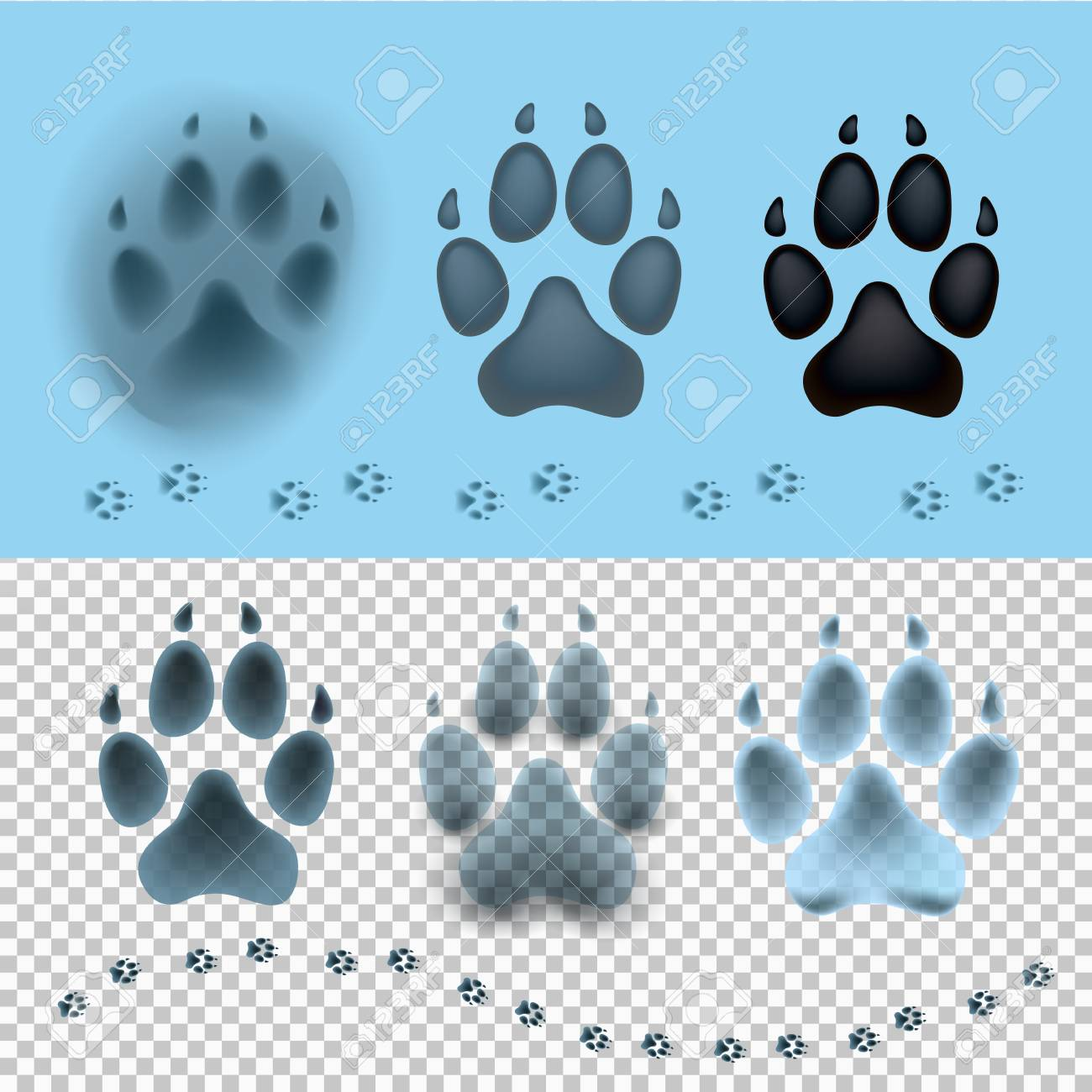 Dog Set Paw Print Flat Icon For Animal Apps And Websites. Footprint ...