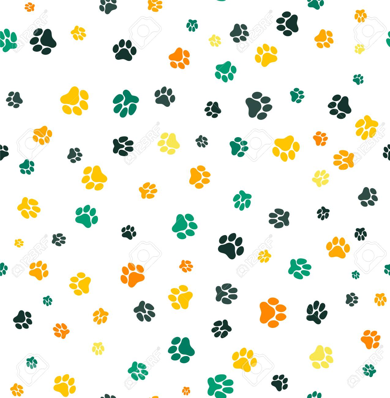 Dog Paw Print Seamless. Template For Your Design, Wrapping Paper ...