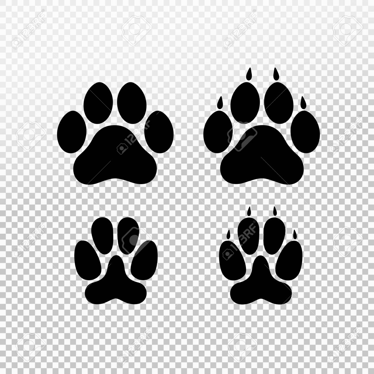 Dog Or Cat Set Paw Print Flat Icon For Animal Apps And Websites ...