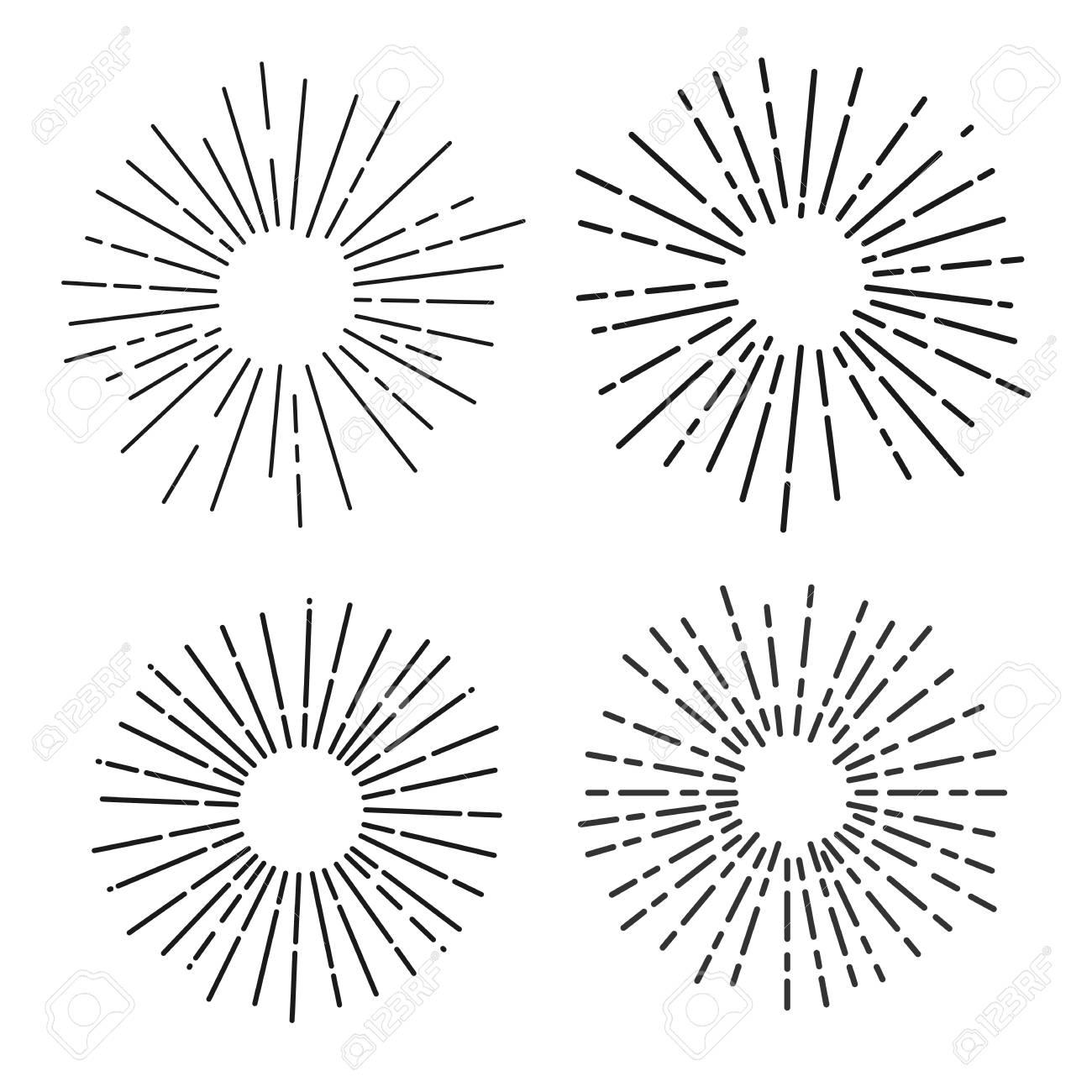 Set of sun rays, fireworks, linear drawing vector illustrator