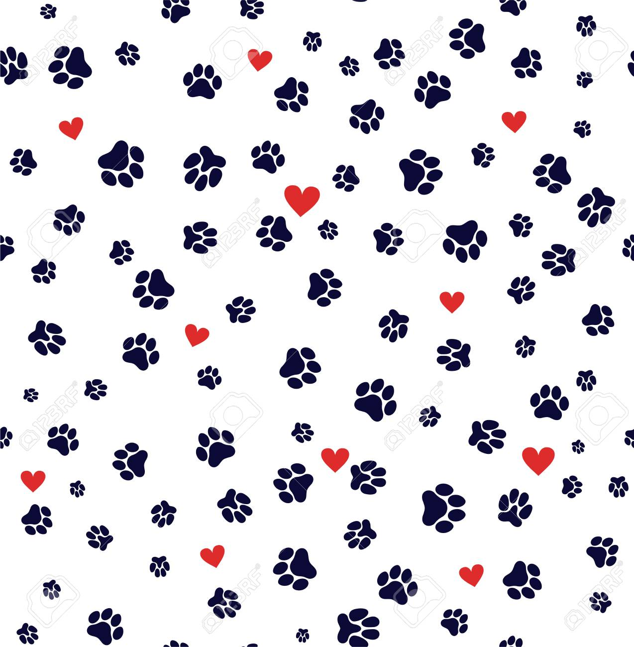 Seamless Pattern Dog Paw And Cat Paw Heart Love Puppy Foot Print ...